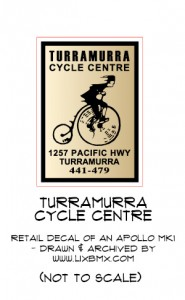 Turramurra Cycle Centre 1980s decal